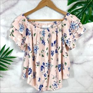 ASTR the Label Pink Floral Off Shoulder Ruffle Top